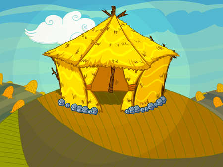 cartoon house: Straw bale house on the hill drawn in cartoon style