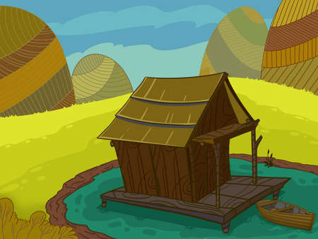 lake house: Wooden house on a lake drawn in cartoon style Stock Photo