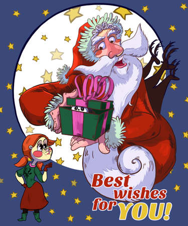 cartoony: Santa Best Wishes For You Cartoon Illustration. Raster drawn illustration in cartoony style. Merry Christmas  Happy New Year Card. Stock Photo