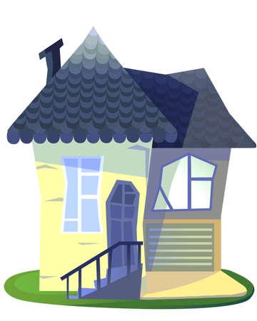 rail yard: Grandmas house cartoon illustration isolated on white backdrop. Stock Photo