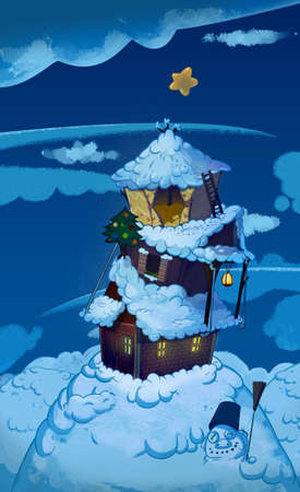winter night: Three Houses one on top of another. Brick house, wooden house and straw house. Winter night fairy tale background image. Cartoon raster illustration.