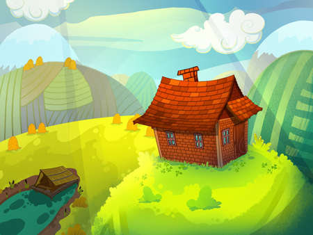 mud and snow: House on the hill made of bricks with a chimney. Sunny summer fairy tale background image. Cartoon raster illustration. Stock Photo