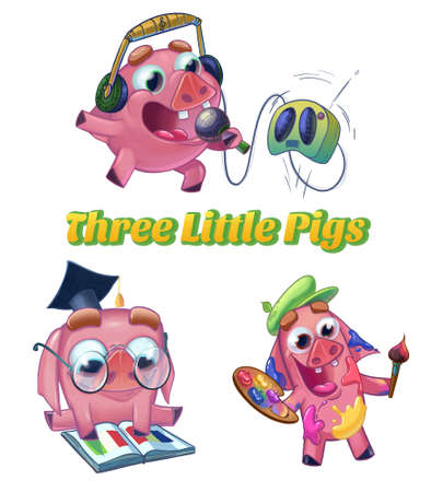 three little pigs: Three Little Pigs from Classic Fairy Tale. Musician, scientist and artist characters. Cartoon raster illustration on white background isolated.