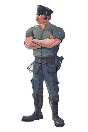 cia: Policeman - Police Officer Stand Guard - Raster Isolated Illustration
