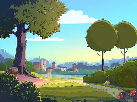 Green glade cartoon landscape background. Raster colorful illustration of a park near a town. 스톡 콘텐츠