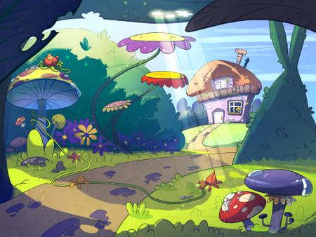 Sprookje huis in het midden van het bos omgeven door bomen, paddestoelen en bloemen. Cartoon stijlvolle raster illustratie.
