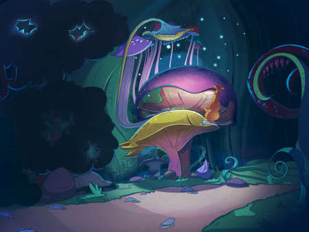 magic book: Colorful big magic mushrooms in the forest at night. Fairy tale cartoon stylish raster illustration.