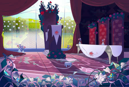Queen's palace interior, court, jury. Fairy tale cartoon stylish raster illustration.