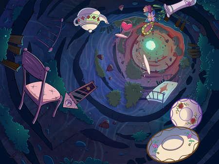 Cadendo nella tana del coniglio con un gruppo di oggetti. Cartoon elegante illustrazione del quadro televisivo. Archivio Fotografico