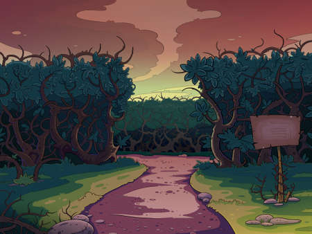 on the lonely road: Lonely road between the bushes at sunset. Fairy tale cartoon stylish raster illustration.
