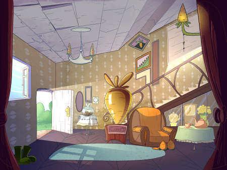 Rabbit house, living room interior. Fairy tale cartoon stylish raster illustration.