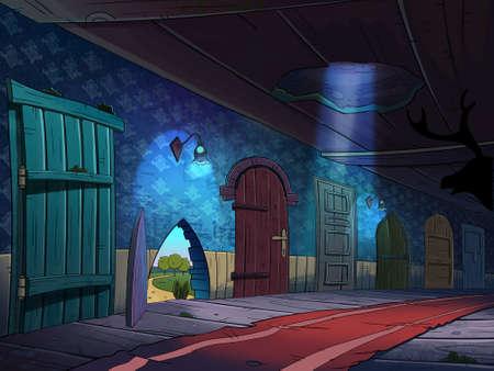 Hall d'entrée avec de nombreuses portes qui mènent dans des mondes magiques. Conte de fées dessin animé élégant raster illustration. Banque d'images - 42904387