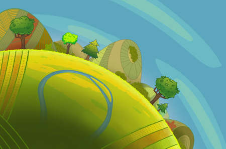 green hills: Round green hills with trees and a river. Cartoon stylish background raster illustration.