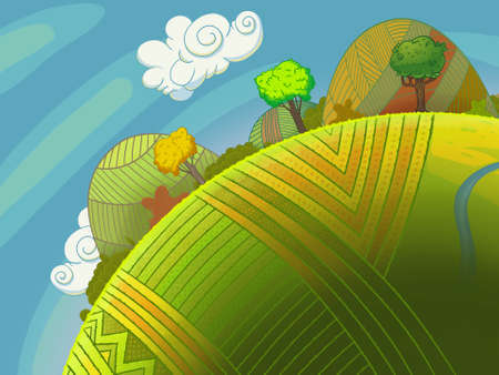 Round green hills with trees and sky with clouds. Cartoon stylish background raster illustration. 스톡 콘텐츠