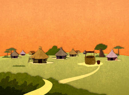 tribe: Tribe village houses in Africa in the sunset. Cartoon stylish background raster illustration.