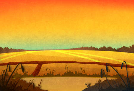 drought: Drought. Field crop in the sunset. Cartoon stylish background raster illustration.