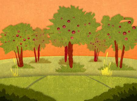 orchard: Apple orchard at sunset. Cartoon stylish background raster illustration. Stock Photo