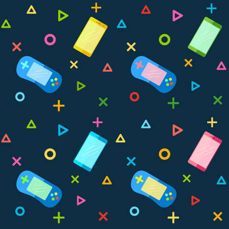x games: Mobile Phones and Colorful Game pad Controllers. Seamless Pattern for Fabric, Wrapping Paper and Background Wallpaper