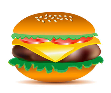 sesame seeds: Cheeseburger with salad leaves, tomatoes, ham and sesame seeds. Big tasty colorful vector illustration.
