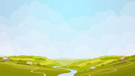 garden path: Green countryside view in the sun. Summer day in village, fields. Digital background raster illustration.