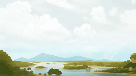 Green savanna with river and mountains. Relaxing landscape painting. Digital background raster illustration. Banco de Imagens