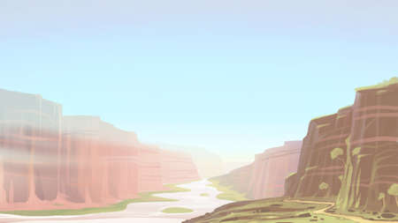 Canyon with river landscape. Digital background raster illustration.