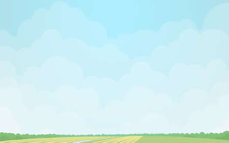 green fields: Green fields under the cloudy sky. Digital background raster illustration.