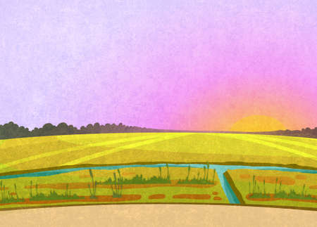 Purple sunset in the fields. Landscape with a small river and some reeds. Digital background raster illustration Banco de Imagens