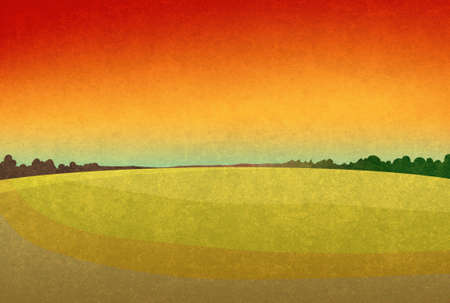 red sky: Sunset in the fields. Landscape with red sky and dark green forest silhouette in the distance. Digital background raster illustration.