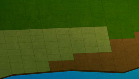 Computer game scene, map. Fields made of square tiles of various colors of green and brown. Digital background raster illustration.