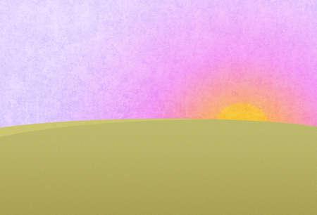 pink sky: Sunset on the purple pink sky. Green meadow, field. Digital background raster illustration.