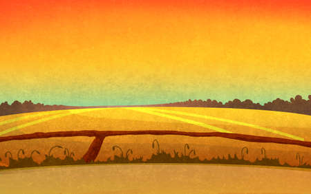 paths: Sunset in the fields crossed by small paths. Landscape with orange sky and dark brown forest silhouette in the distance. Digital background raster illustration.