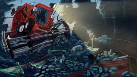 cosechadora: Cosechadoras rompi� un muro de ladrillos. Digital ilustraci�n de la trama de fondo.