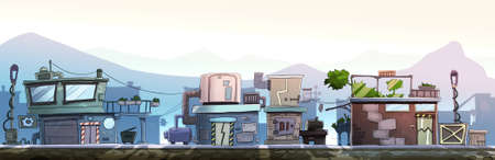 City street with houses on one side of the road. Digital background raster illustration.