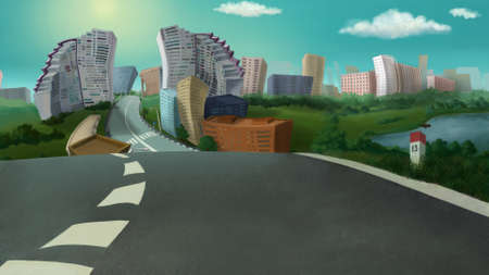 hustle: City view on a sunny day. Digital background raster illustration.