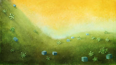 yellow sky: Yellow sky with green hill with cubes and plants. Digital background raster illustration. Stock Photo