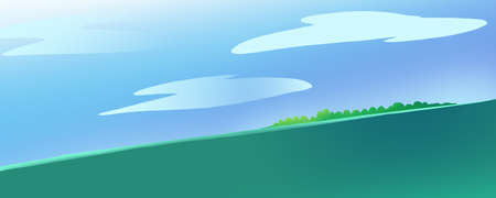 calm water: Lonely Island in the Ocean or a Sea. Calm green water current. Blue Sky with Clouds. Digital background raster illustration. Stock Photo