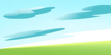 some: Green Meadow on a Calm Sunny Summer Day with some Clouds in the Sky. Digital background raster illustration. Stock Photo