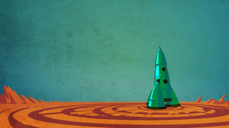 Rocket in the space. Spaceship on the lonely planet. Flight to the moon. Science fiction digital background raster illustration