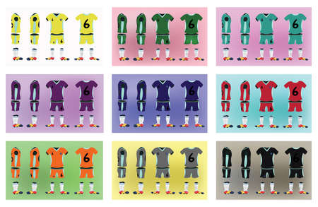 in uniform: Uniforme de f�tbol del equipo de f�tbol de deporte. Digital ilustraci�n vectorial de fondo. Dise�o elegante para las camisetas, los pantalones cortos y botas.
