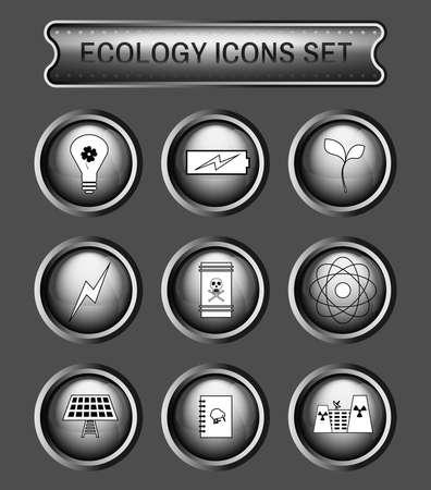 living skull: Ecology Icons Set on Gray Round Buttons. Digital background vector logotypes set. Illustration