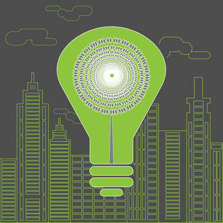 lighting background: Eco lighting concept. Big green energy saving lightbulb in front of the skyscrapers silhouettes. Digital background vector illustration. Green movement. Illustration