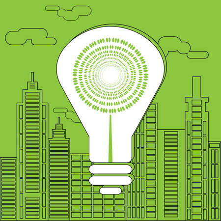 megalopolis: Eco lighting concept. Big white energy saving lightbulb in front of the skyscrapers silhouettes. Digital background vector illustration. Green movement.