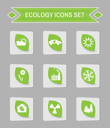 square buttons: Green ecology logo isolated on gray square buttons. Digital background vector icon set. Illustration