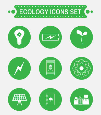 living skull: Ecology logo isolated on green round buttons. Digital background vector icon set.