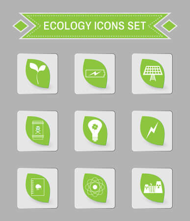 living skull: Green ecology logo isolated on gray square buttons. Digital background vector icon set. Illustration