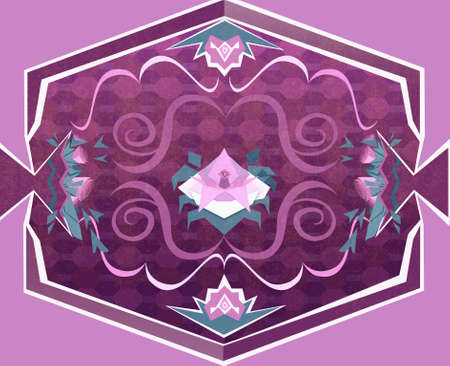 floral carpet: Floral Carpet with Flowers and Geometrical Objects. Digital background raster illustration.