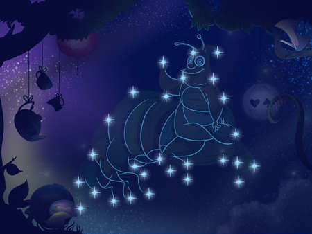 asterism: Fairy tale astronomy. Kids book digital background raster illustration. Caterpillar constellation.