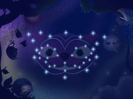 Fairy tale astronomy. Kids book digital background raster illustration. Cheshire cat constellation.