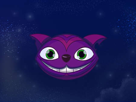 cheshire cat: Cheshire cat big smiley purple face. Kids book digital background raster illustration. Stock Photo